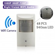 WIFI and TF Slot 720P 960P 1080P PIR Style Indoor Onvif Wired and Wireless IP Camera with Invisible 940nm IR LED Built-in Audio
