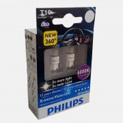 Bec Led W5W 12V 1W / 6000K ( Lumina Bleu ). X-Treme Vision Set 2 Buc Philips