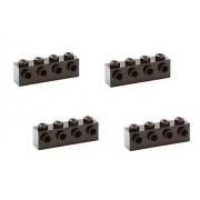 Lego Parts: Brick, Modified 1 x 4 with 4 Studs on 1 Side (PACK of 4 - Black) by B&F-BuildPacks
