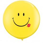 Baloane latex Jumbo 3 ft inscriptionate A Smile & A Kiss Yellow, Qualatex 28150, 1 buc