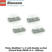 """Lego Parts: Plate, Modified 1 x 2 with Handle on End (Closed End) (PACK of 4 - LBGray) by """"Parts - Plates, Modified"""""""