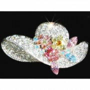 Sparkling Flower Lady Hat Swarovski Crystal Brooch