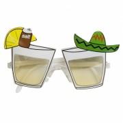 Feestbril met tequila glazen