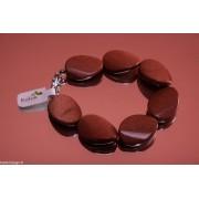 Brățară goldstone maro cu mărgele ondulate-ovale 18x25mm