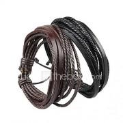 Heren Dames Voor Stel Wikkelarmbanden Lederen armbanden Verstelbaar Eenvoudige Stijl Meerlaags Met de hand gemaakt Europees LederZwart