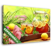 Tea citrommal és mentával tálalva (40x25 cm, Vászonkép )