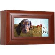 I Love My Dachshund Dog Cottage Garden Woodgrain Petite Jewelry Music Box - Plays Song Wonderful Wor