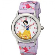 Disney Kids' W001581 Snow White Stainless Steel and Printed Strap Watch Analog Display Purple Watch