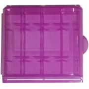 Estuche organizador de plástico ROSA para 4 Pilas AA / AAA