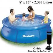 Piscina Inflável 2300 Lts Bestway 57008 + Bomba Inflar Manual 244cm diâmetro x 66cm altura