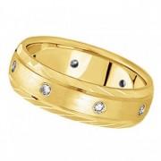Men's Burnish-Set Diamond Wedding Band in 14k Yellow Gold (0.4 ctw)