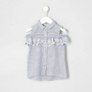 River Island Mini girls Blue stripe cold shoulder shirt