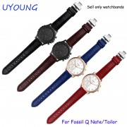 Quality genuine leather watchband 18mm replacement leather strap quick release For Fossil Q Nate/Tailor