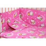 Lenjerie patut bumbac, Hello Kitty, roz, 5 piese