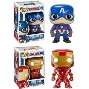 Funko Pop! Captain America Civil War: Iron Man & Captain America Stylized Vinyl Bobble Head Set New