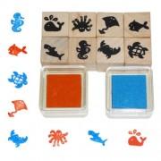 Fa játék nyomdakészlet, tengeri állatok
