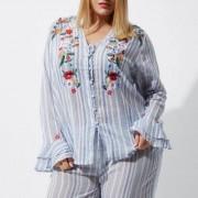 River Island Plus blue stripe embroidered pyjama top
