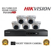 Hikvision CCTV Security System With Turbo DS-7208HQHI-F1 8CH DVR + DS-2CE56DOT-IRP 2MP Dome Camera 5pcs Combo