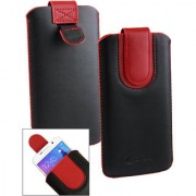 Emartbuy Black / Red Plain Premium PU Leather Slide in Pouch Case Cover Sleeve Holder ( Size LM2 ) With Pull Tab Mechanism Suitable For Lava A82