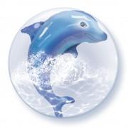 """Balon Double Bubble 24""""/61cm Qualatex, cu Delfinul Jucaus, 84127"""