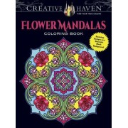 Creative Haven Flower Mandalas Coloring Book: Stunning Designs on a Dramatic Black Background