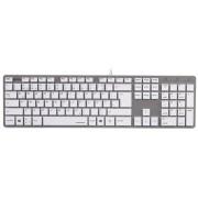Tastatura cu fir, USB, alb-argintiu, HAMA Rossano