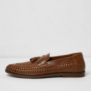 River Island Tan woven leather loafers