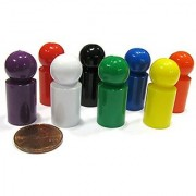 Set of 8 Ball Pawns 30mm Peg Pieces for Board Game Play - Assorted Colors by Koplow Games