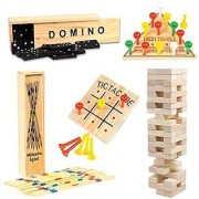 Wooden Game Set by GamieTM - 5 Fun Games for Kids & Family - Includes Tic-Tac-Toe Tower Domino Triangle Pick-up Stick - Compact Size - Best Gift for Boy or Girl 5+.