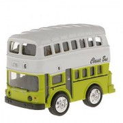 Magideal Model Double-Decker Bus Pull Back Car Educational Toy Kids Gift-Green