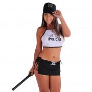 Fantasia Erótica Feminina Policial Sexy de Saia Preta e Top Branco com Cassetete Incluso - DM300