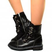 Stivali Anfibi Donna Biker Boots con Zip e Catene in Pelle Nera T: 36, 39