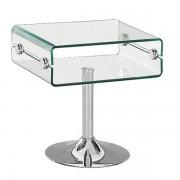 Comodino o Tavolino con Vano a Giorno e Base Tonda