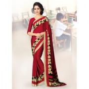 Swaron Maroon Wonderful Womens Casual Wear Crepe silk Printed Saree 91S202
