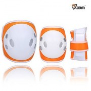 JBM Child Kids Bike Cycling Bicycle Riding Protective Gear Set Knee and Elbow Pads with Wrist Guards Multi-sports: Rollerblading Skating Volleyball Basketball BMX (Nylon Cloth Orange Child/kids)
