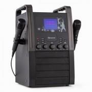 auna KA8P-V2 BK karaoke renszer CD lejátszóval, AUX, 2 mikrofon, fekete (KS1-KA8B-V2 bk)