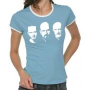 Touchlines Kontrast T-shirt Walter Jesse Mike Faces Girlie Ringer Camiseta, color azul, talla 36