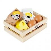 Tidlo Pretend Play Food - Cassa di cibo con giochi in legno, 2 uova, 2 pezzi di formaggio, un pezzo di burro e latte
