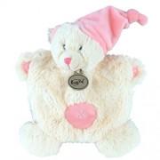 Doudou Babynat Baby'nat ours bear plat blanc bonnet rose pink calins BN742