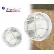 Plafoniera applique TONDA griglia tartaruga bianca campana in vetro E27 Dhomteck