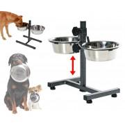 86483 Doppia ciotola DOG BOWL in acciaio inox per cani con supporto regolabile