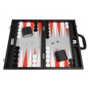 16 Inch Premium Backgammon Set Medium Size Black Board, White And Scarlet Red Points