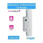 HAGER Détecteur audiosonique de bris de vitre - LS radio - S280-22X - Logisty Hager - pile lithium fournie