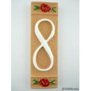 Numero civico ceramica con fiore rosso nfr8