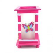 Veioza din ceramica roz cu fluturi
