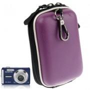 Sötétlila színű digitális fényképezőgép tartó műbőrből - 12 x 7 x 4,5 cm (mini)