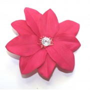 HOT PINK FLOWER WITH DIAMONTIE FASCINATOR MOUNTED ON A DIAMONTIE EFFECT COMB