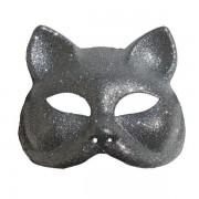 Glitter Cat Masquerade Mask In Silver