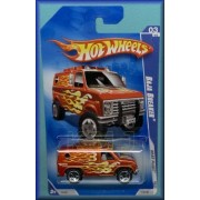 2009 Hot Wheels Heat Fleet 3 of 10 BAJA BREAKER # 119 off road monster van large tires ORANGE - BROWN w yellow flames by Mattel
