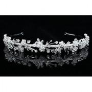 Handmade Rhinestone Crystal Flower Leaf Beads Bridal Wedding Headband Tiara